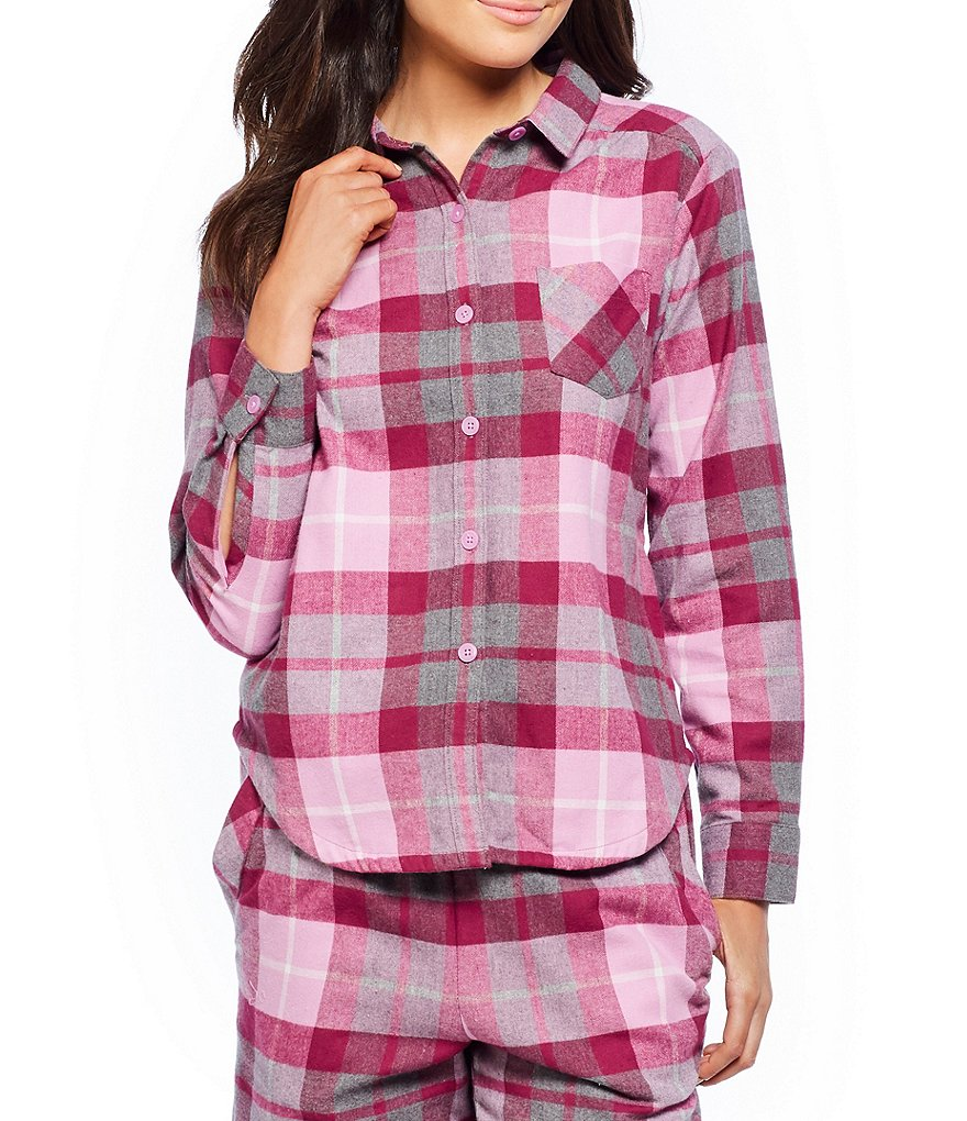 Sleep Sense Olivia Plaid Flannel Sleep Top