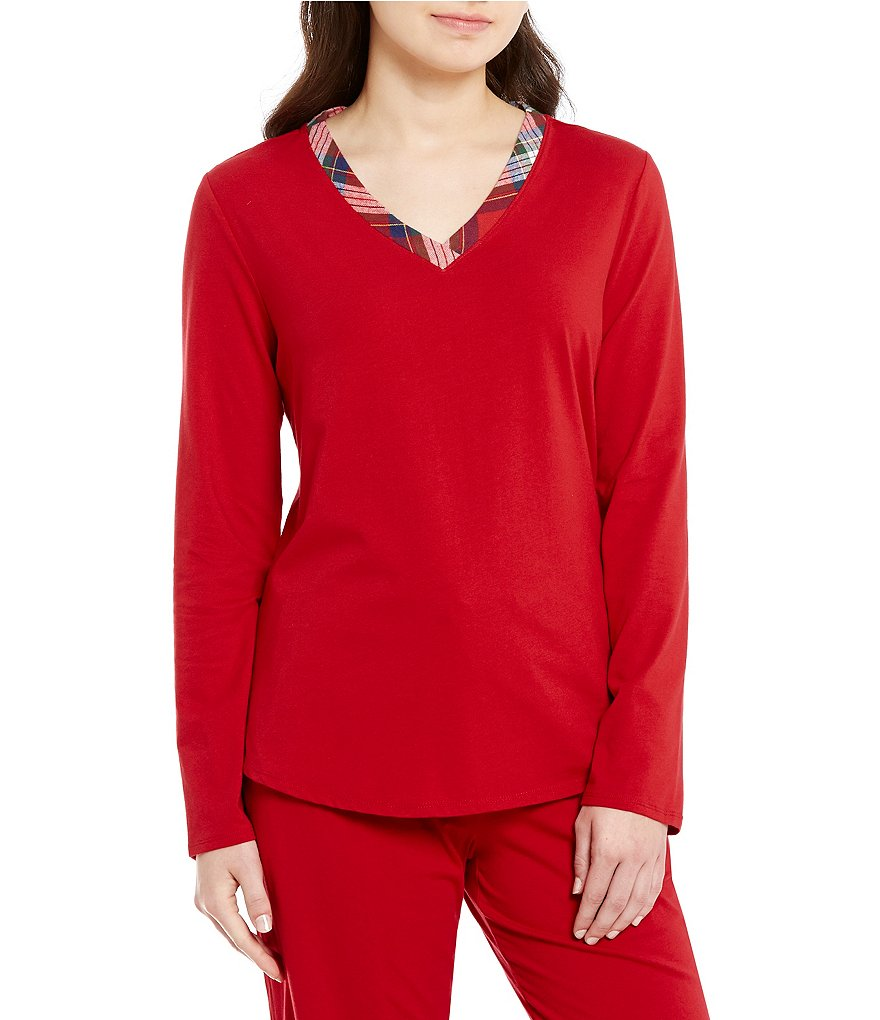 Sleep Sense Petite Flannel-Trimmed Jersey Sleep Top