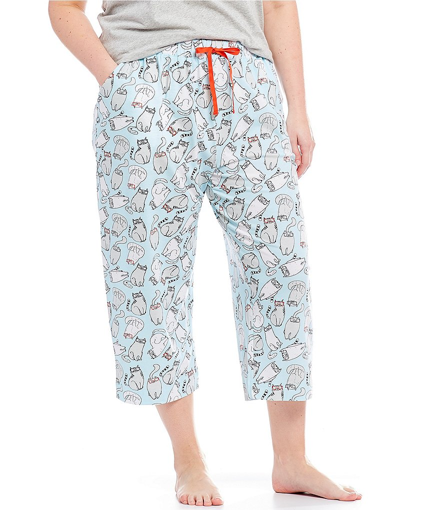 Sleep Sense Plus Cat in Glasses Capri Sleep Pants