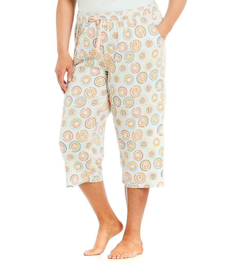 Sleep Sense Plus Coffee Cup-Printed Capri Sleep Pants