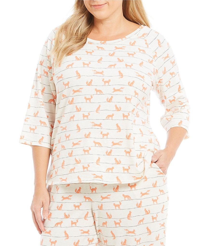Sleep Sense Plus Striped Fox-Print Sleep Top