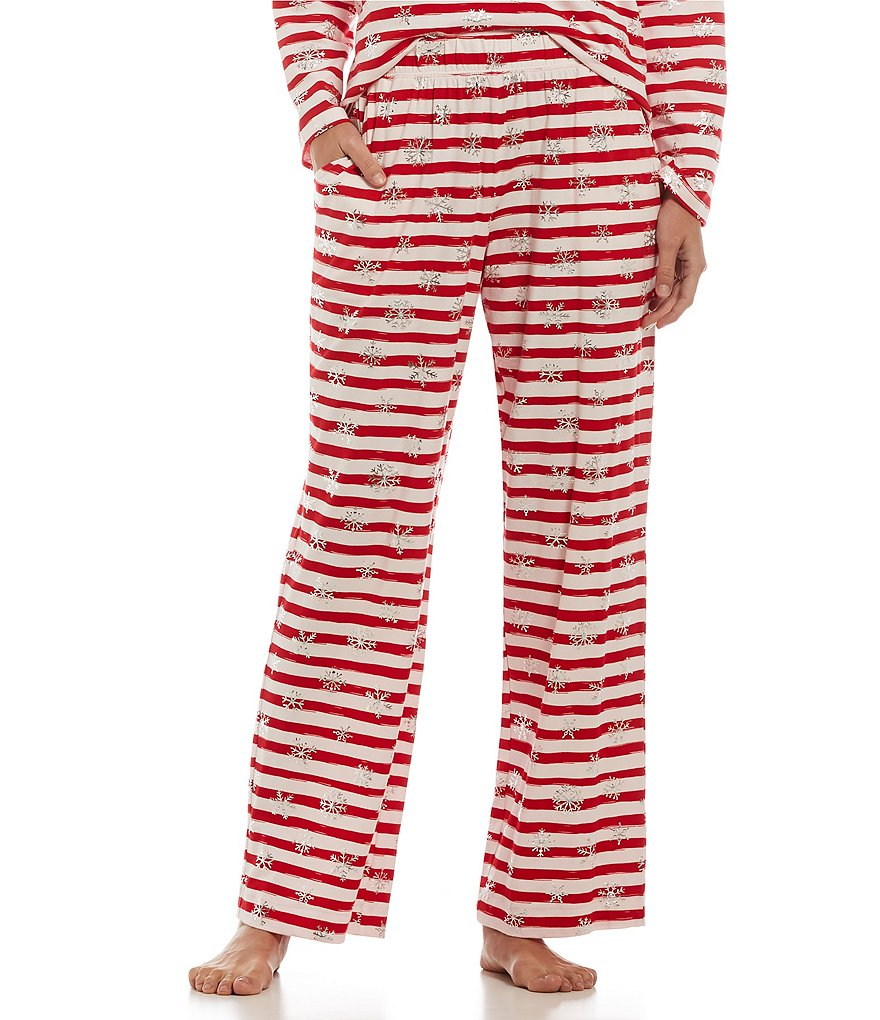 Sleep Sense Striped Metallic Snowflake Sleep Pants