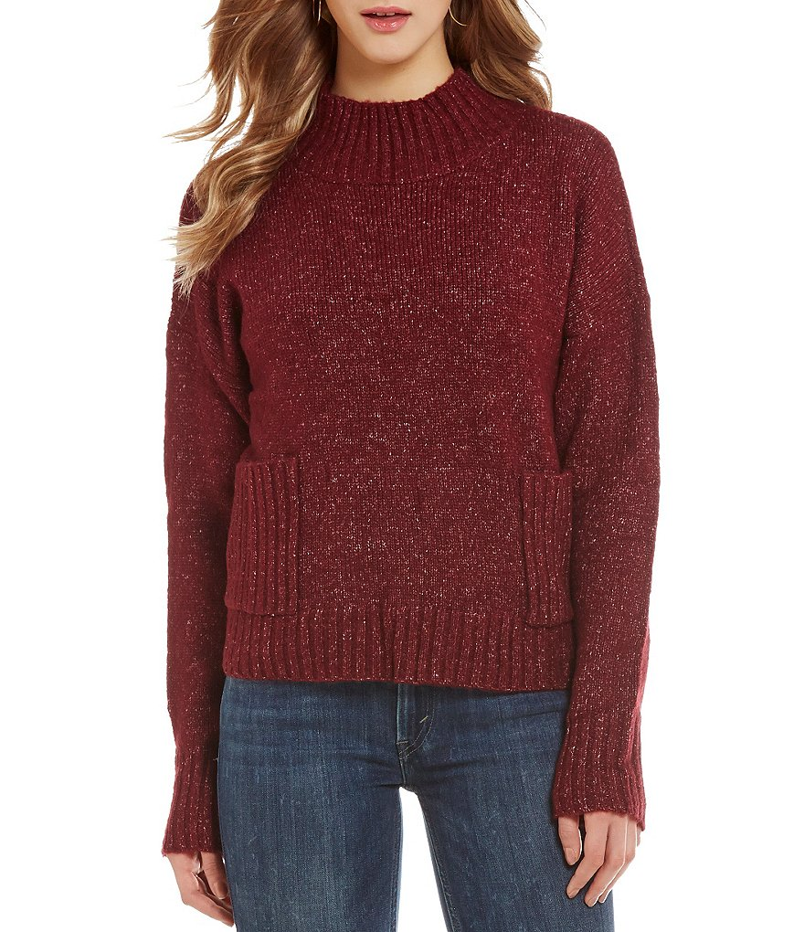So It Is Two-Pocket Ribbed Mock Neck Pullover Sweater