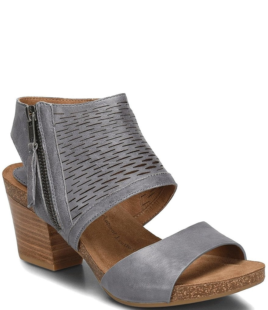 Sofft Milan Leather Block Heel Sandals