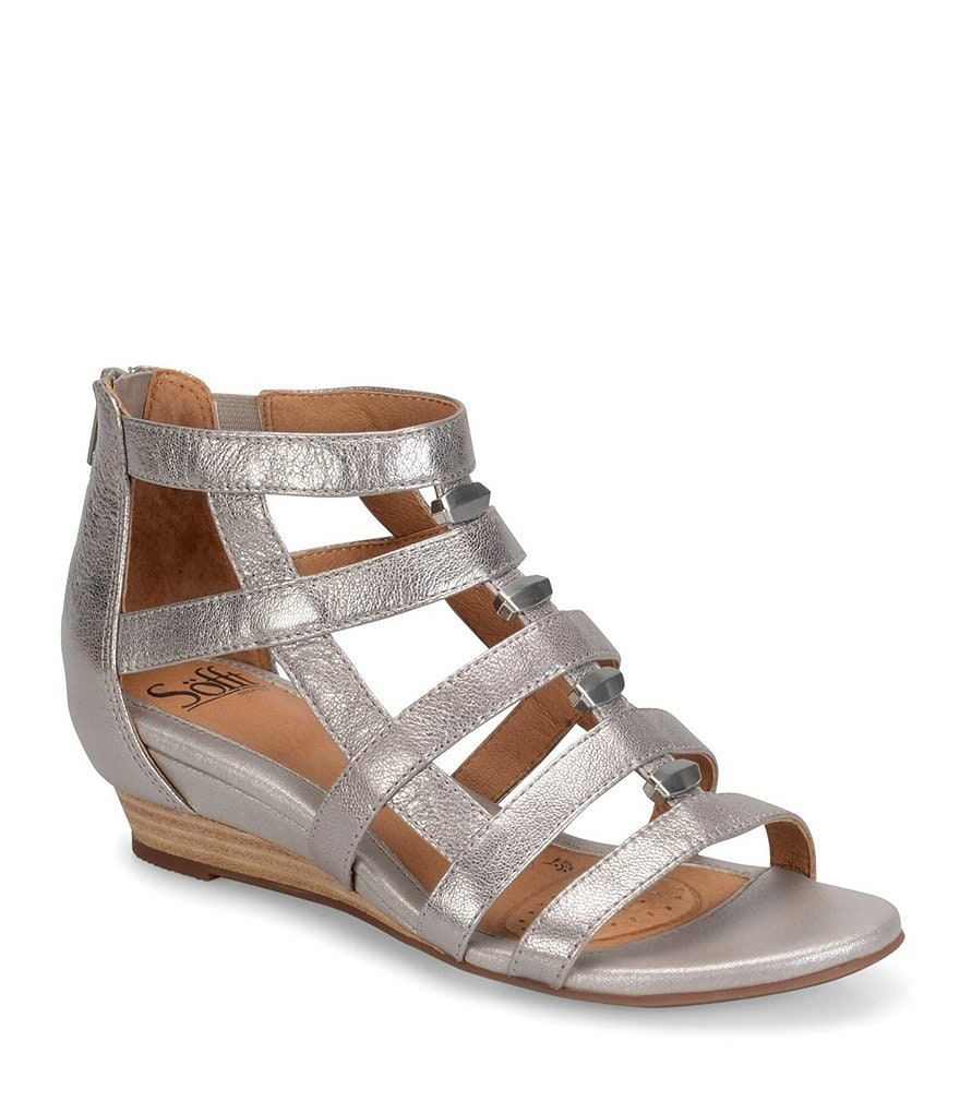 Sofft Rio Leather Caged Metal Detail Gladiator Wedges