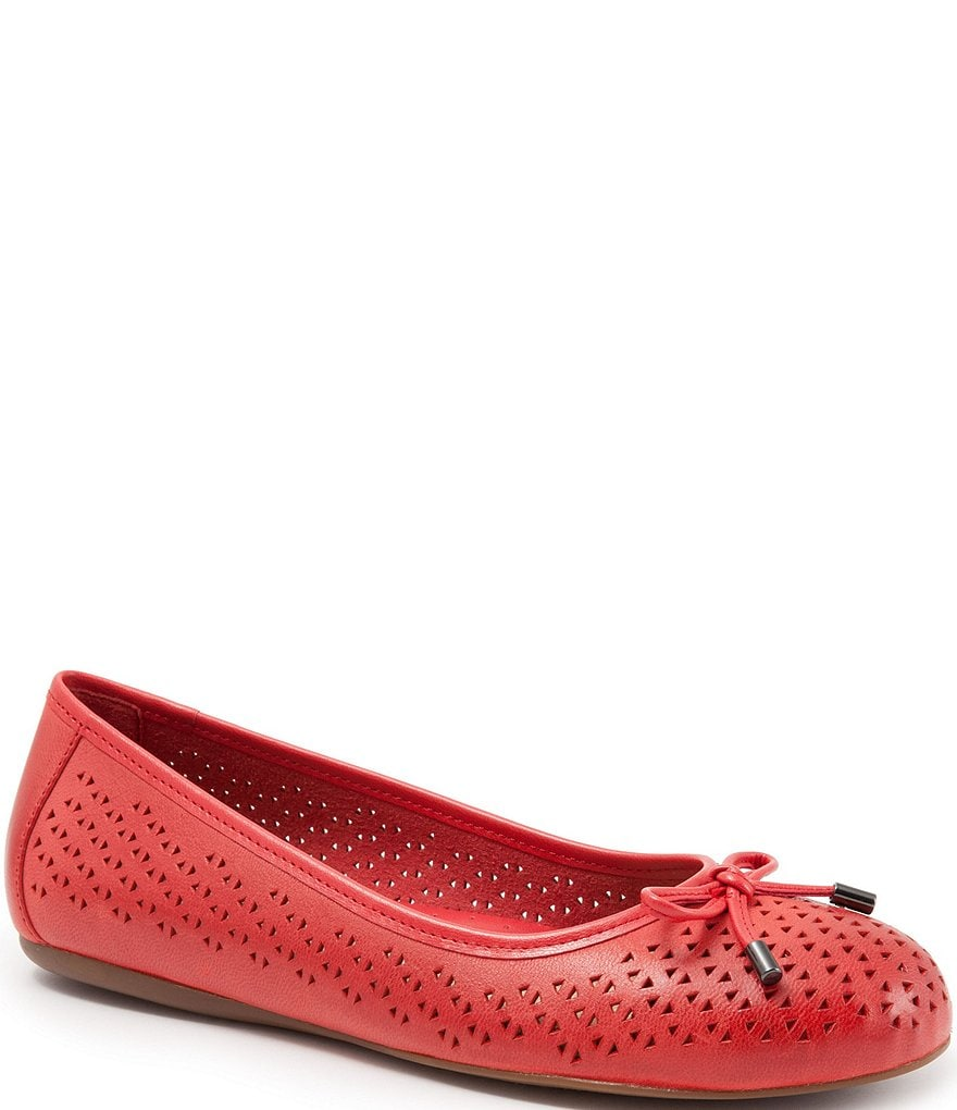 SoftWalk Napa Laser Perforated Bow Detail Ballerina Flats