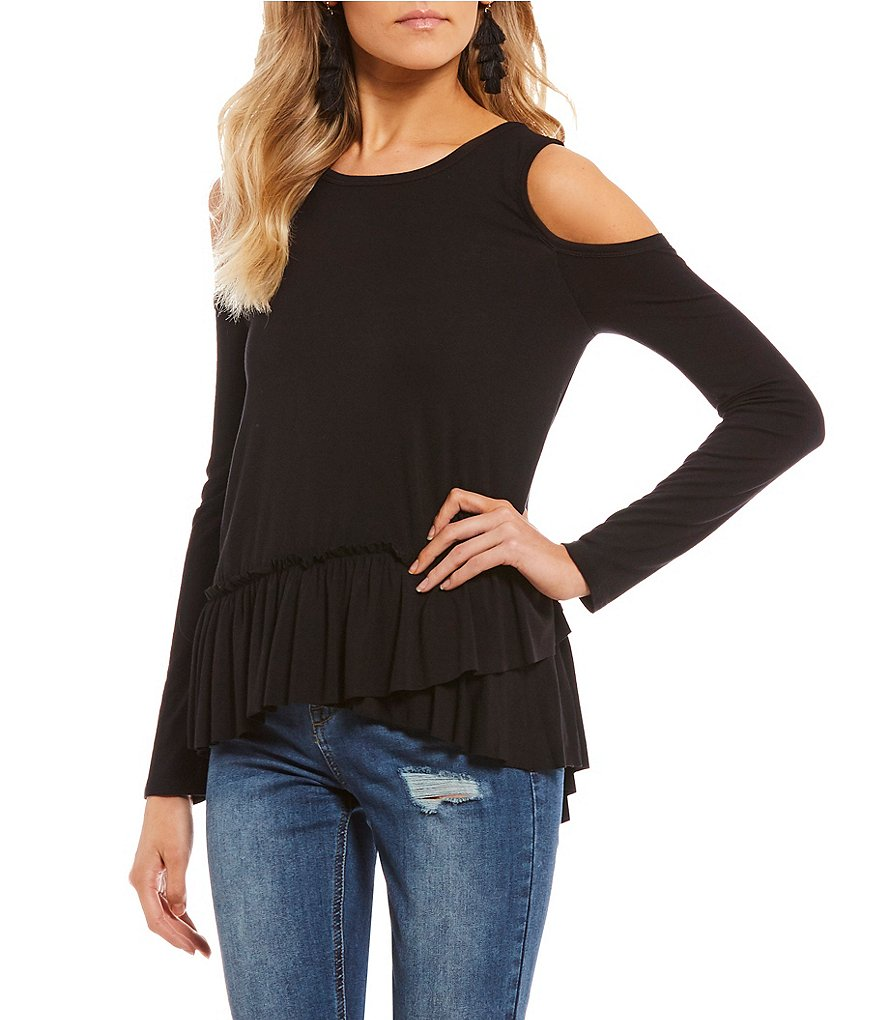 Soprano Cold Shoulder Ruffle Hem Top