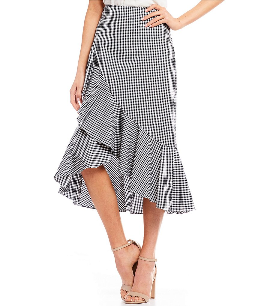 Soprano Gingham-Printed A-Line Skirt