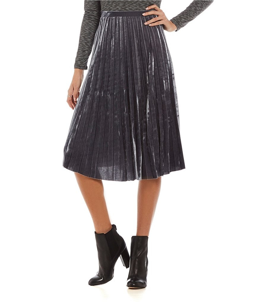 Soprano Velvet Pleated Midi Skirt