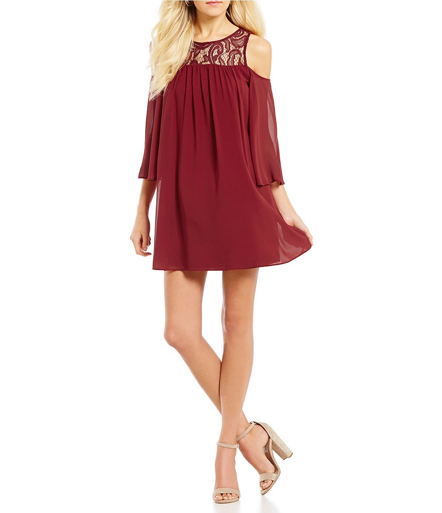 Soulmates Cold Shoulder Lace Yoke Shift Dress