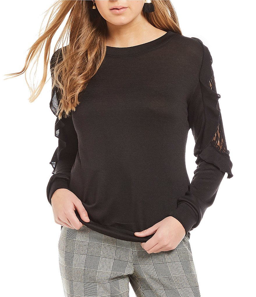 Soulmates Lace Inset Ruffle Shoulder Sweater-Knit Top