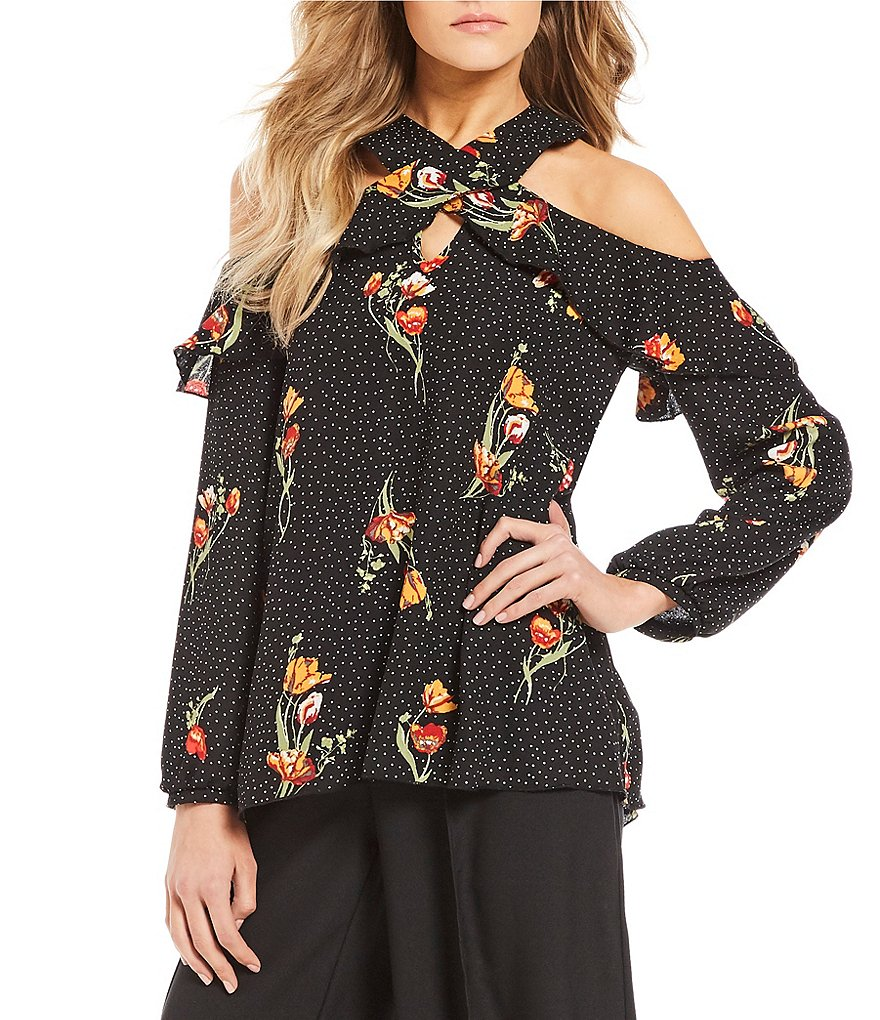 Soulmates Ruffle Neckline Floral-Print Top