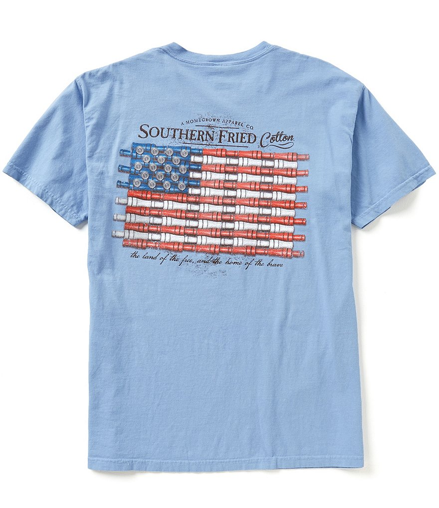 Southern Fried Cotton Men's Duck Call Flag Short-Sleeve Pocket Graphic Tee