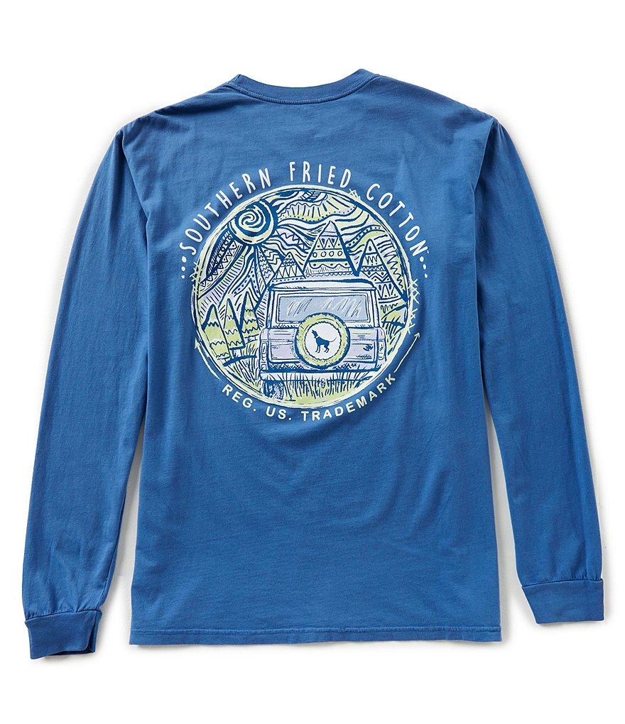 Southern Fried Cotton Mens Mountain Weekend Long-Sleeve Pocket Graphic Tee