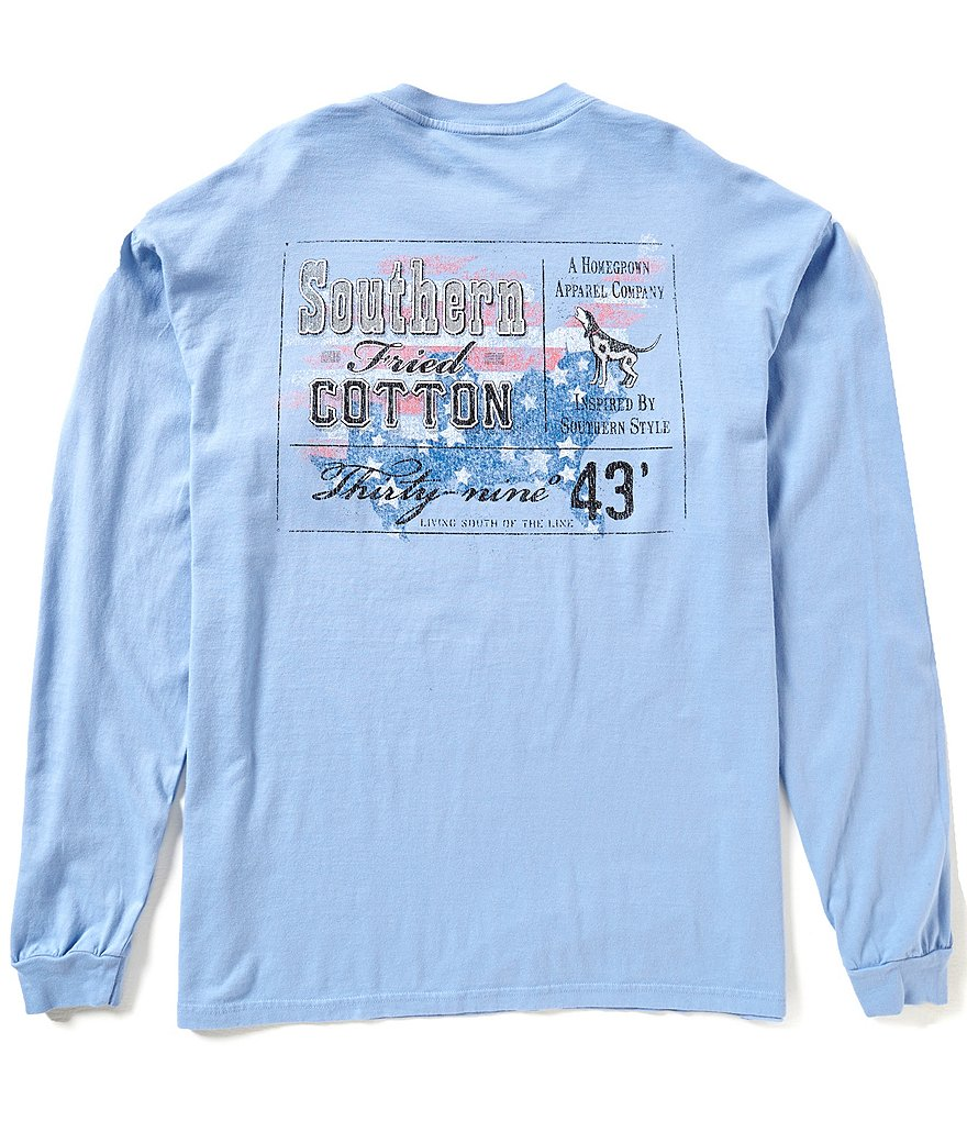 Southern Fried Cotton Men´s Top Shelf Long-Sleeve Graphic Pocket Tee