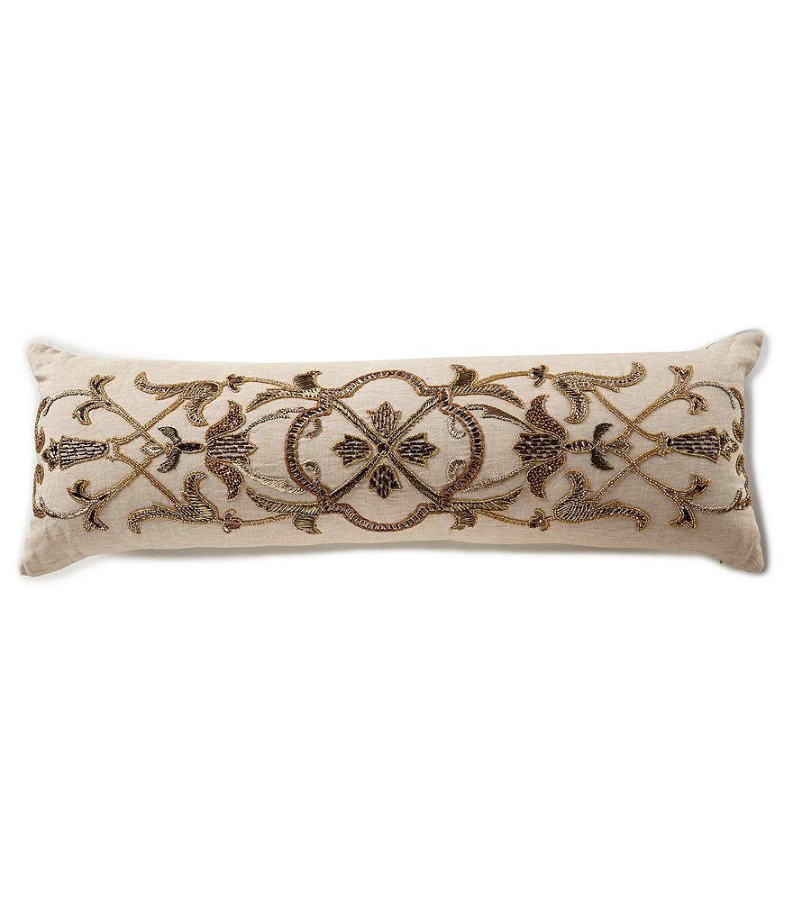 Southern Living Beaded Linen Bolster Pillow