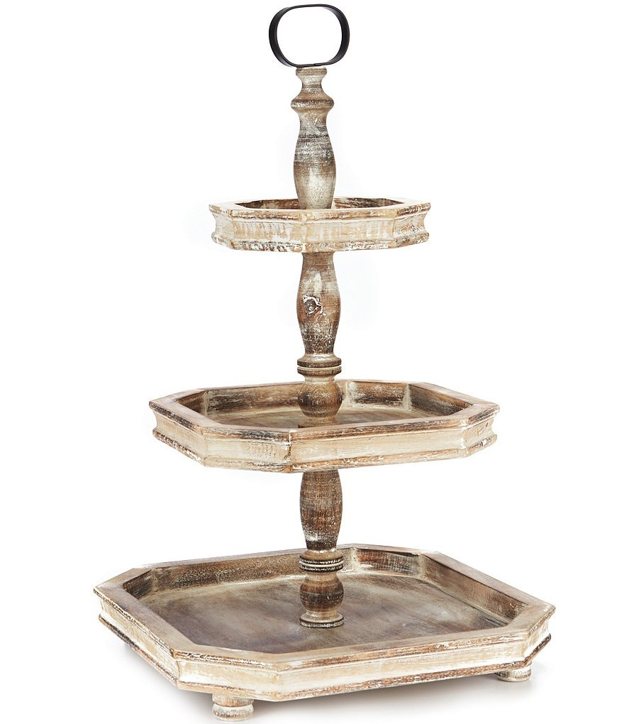 Southern Living Festive Fall Collection Burnt White Washed 3-Tier Square Wood Server