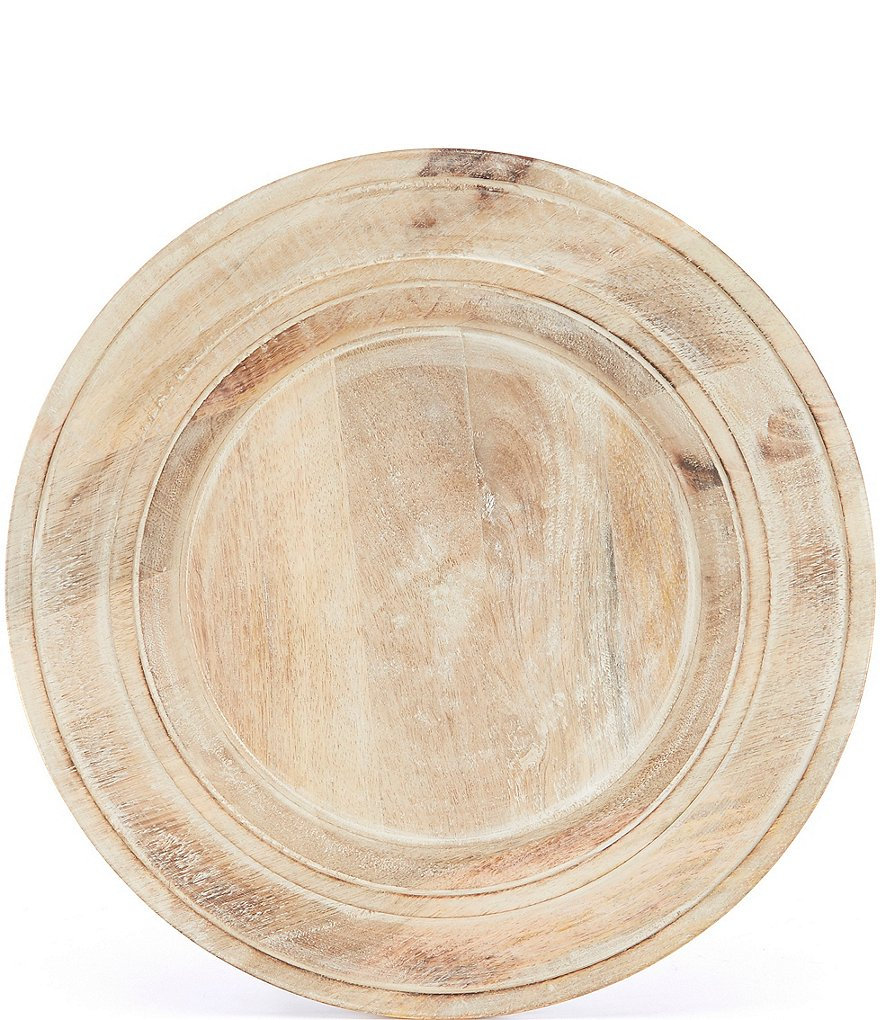 Southern Living Burnt Whitewashed Mango Wood Charger Plate