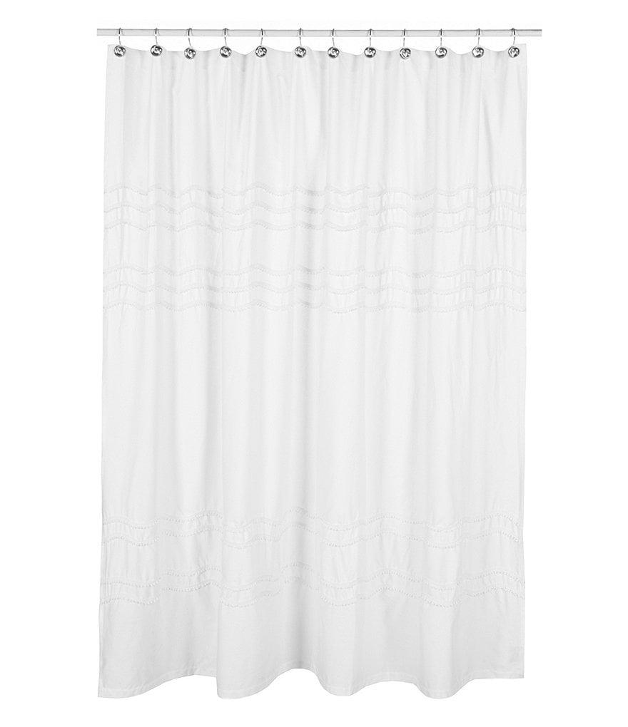Southern Living Chantilly Chevron Pom Pom Linen Shower Curtain