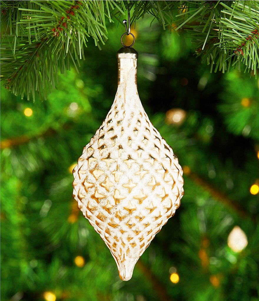 Southern Living Grand Noel Collection Gold & White Diamond Drop Ornament