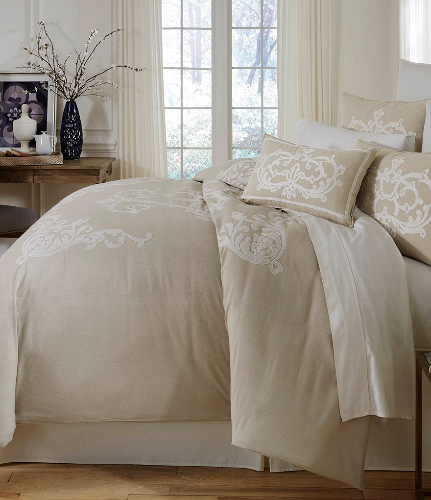 southern living granville embroidered mlange chambray duvet mini set