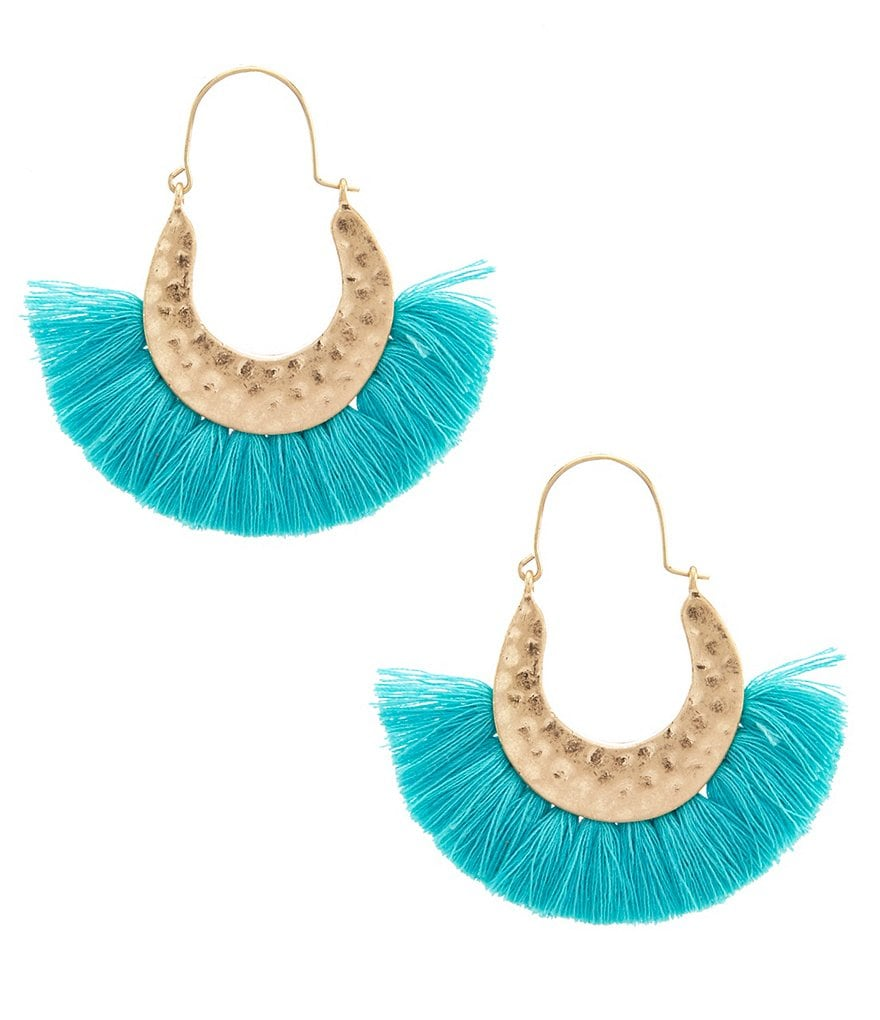 Southern Living Half Moon Fringe Statement Earrings