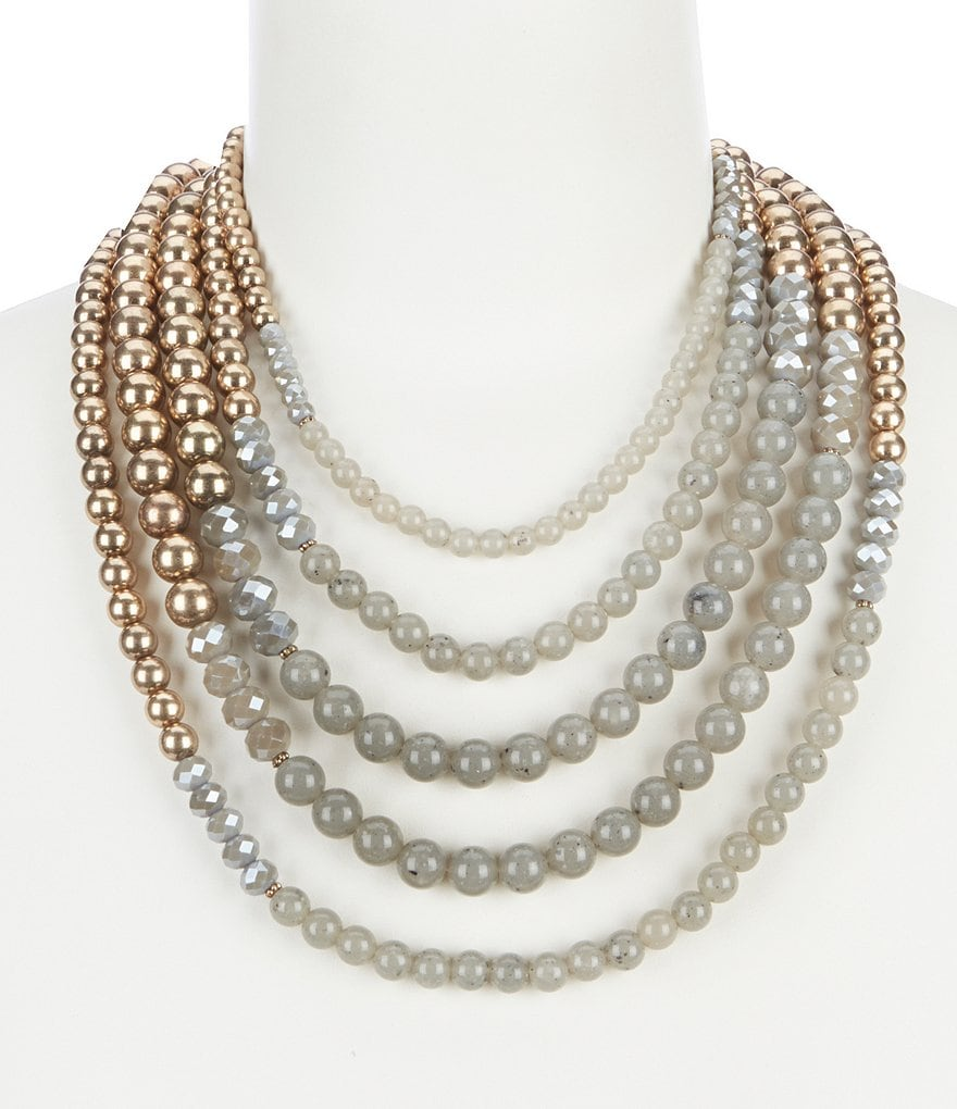 Southern Living Nash Grey Multi Strand Statement Necklace