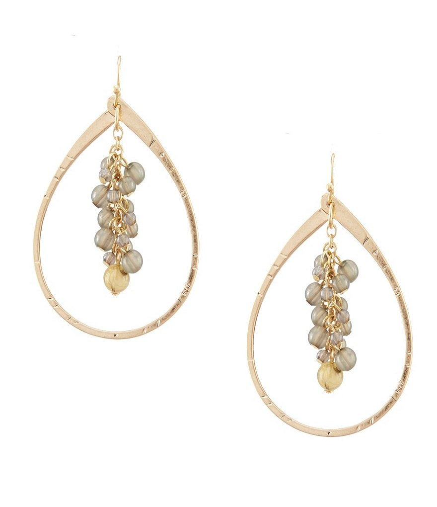 Southern Living Norman Grey Beaded Drop Hoop Earring