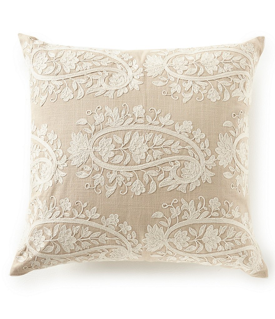 Southern Living Paisley Embroidered Square Pillow