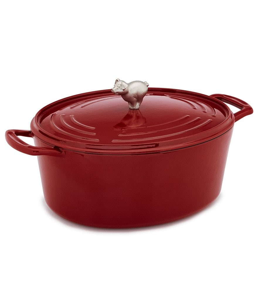 Southern Living Pig-Knob Cast Iron Dutch Oven with Lid