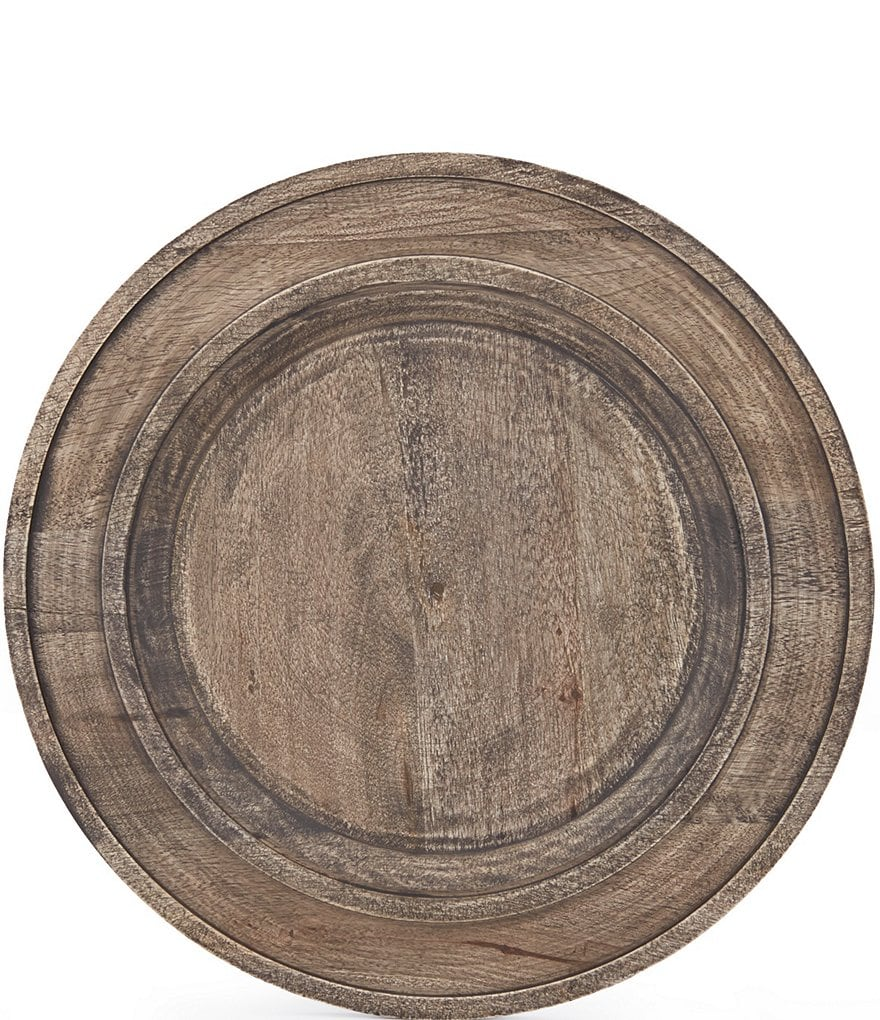 Southern Living Festive Fall Collection New Nostalgia Rustic Mango Wood Charger Plate