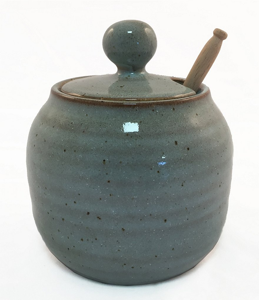 Southern Living New Nostalgia Astra Speckled Stoneware Honey Pot with Stick