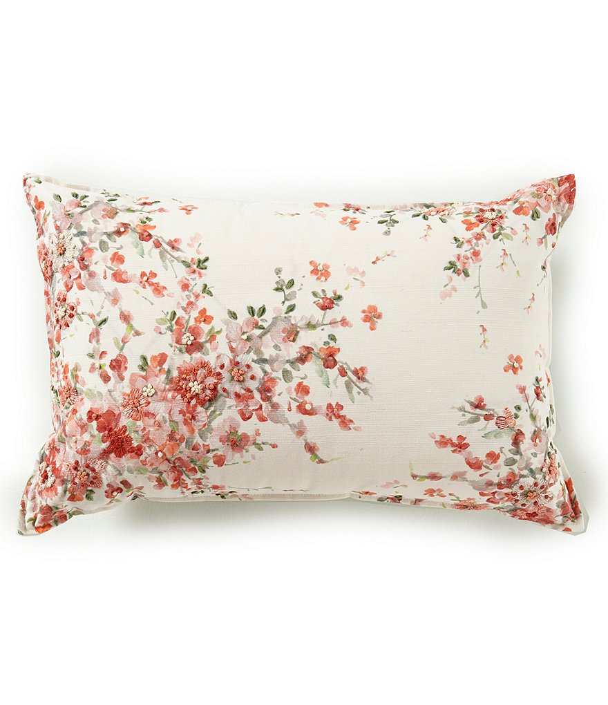 Southern Living Spring Collection Embroidered Floral Bolster Pillow