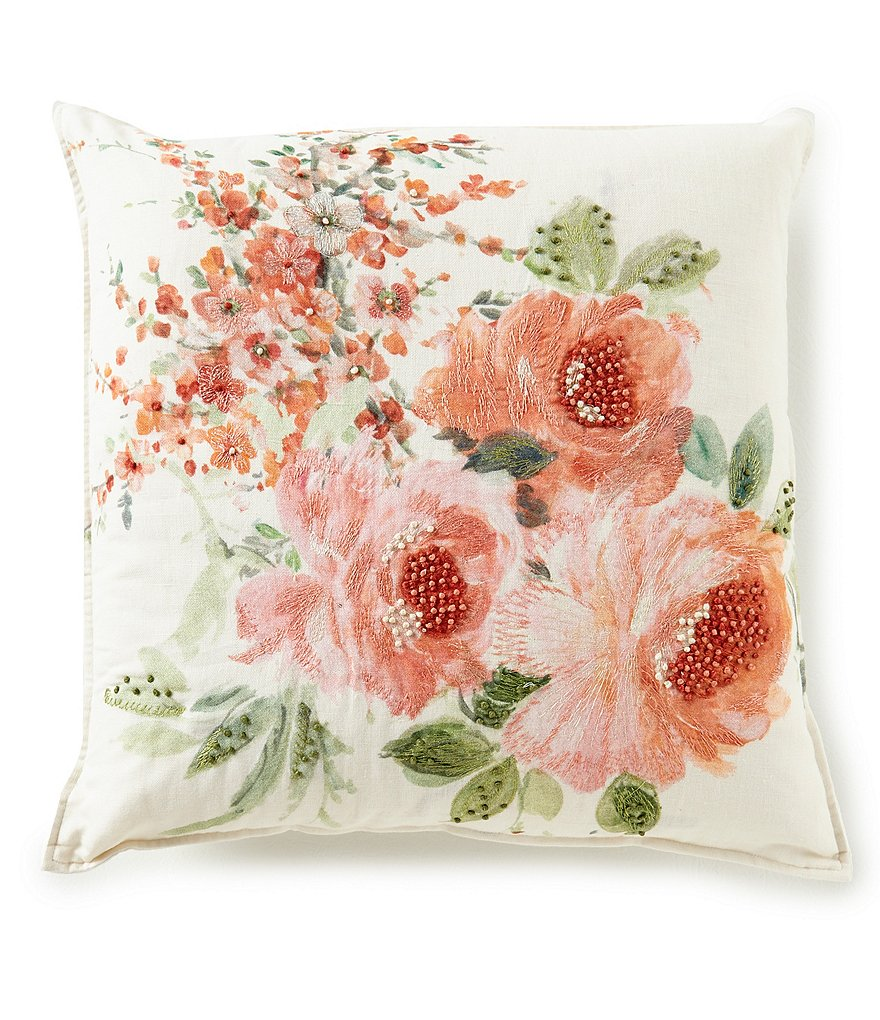 Southern Living Spring Collection Embroidered Flower Square Pillow