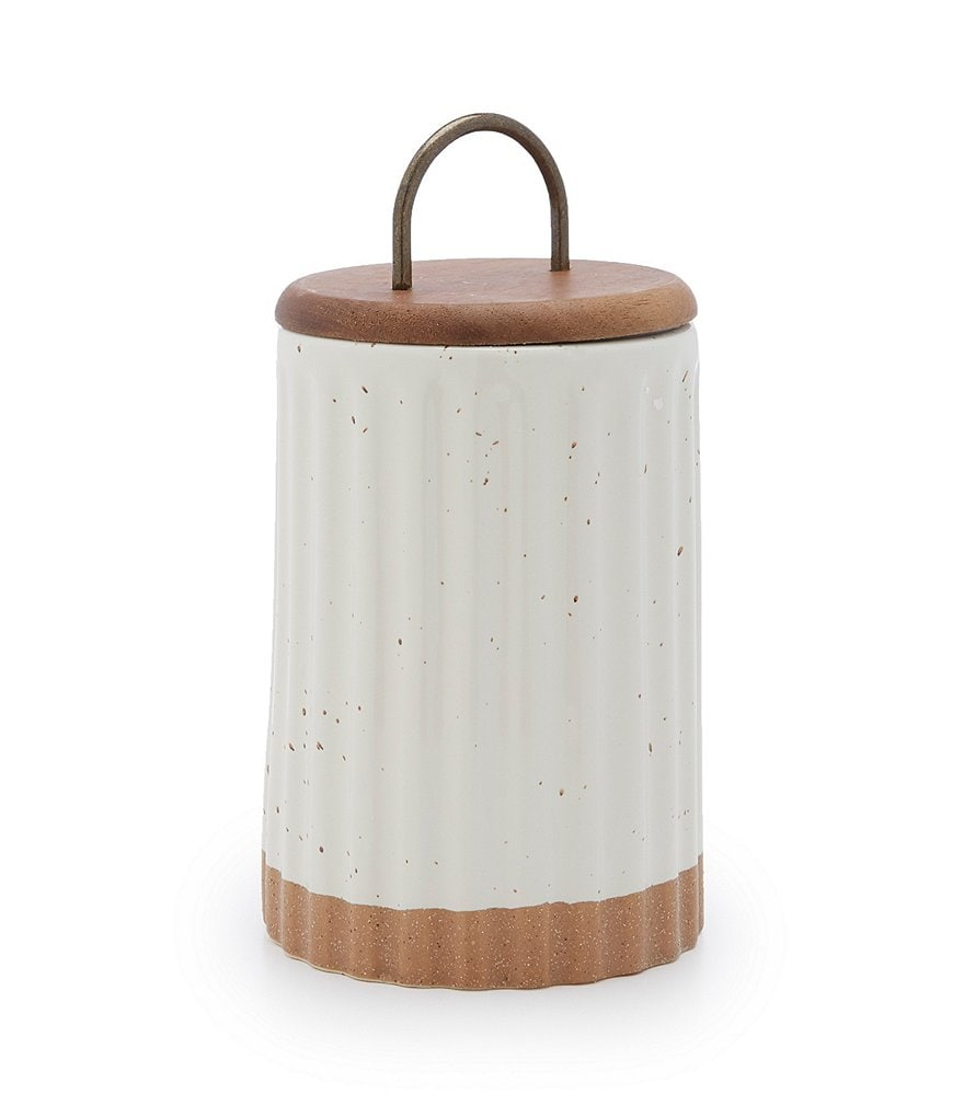 Southern Living Festive Fall Collection Stoneware Canister with Wood/Metal Lid