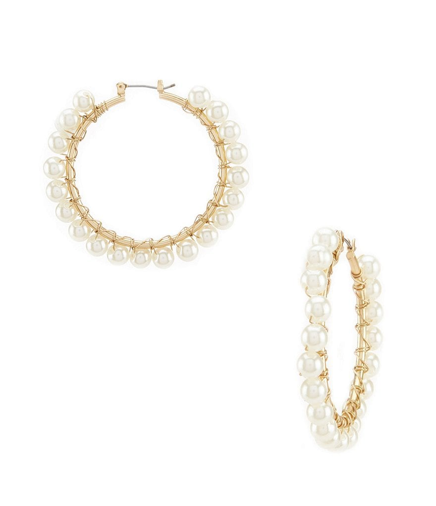 Southern Living Tim Pearl Beaded Hoop Earrings