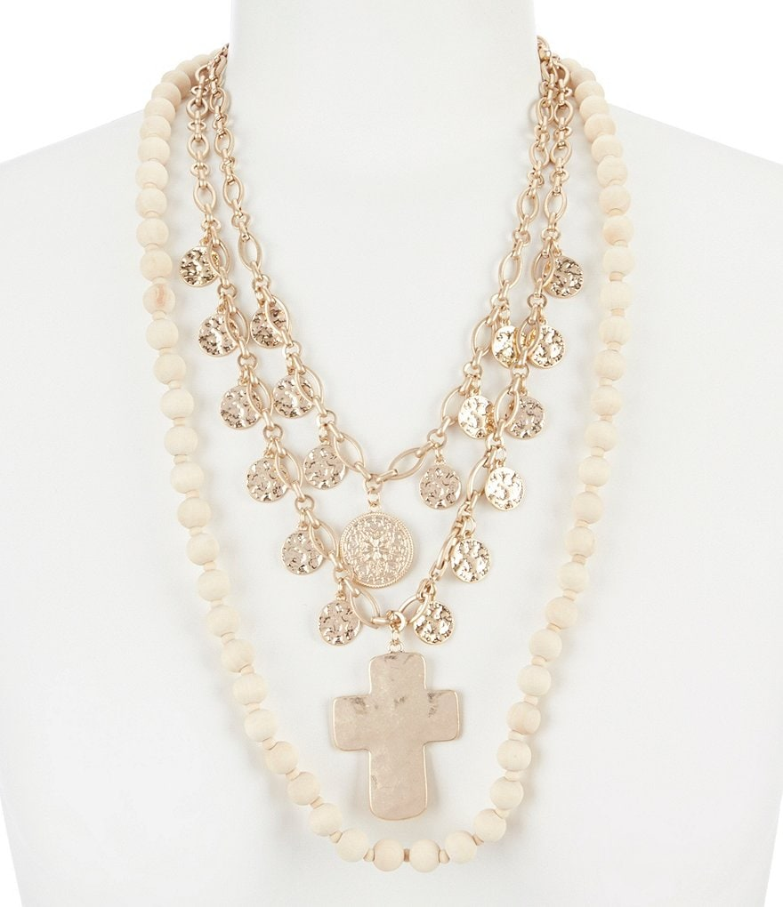 Southern Living Wood and Gold Cross Statement Necklace