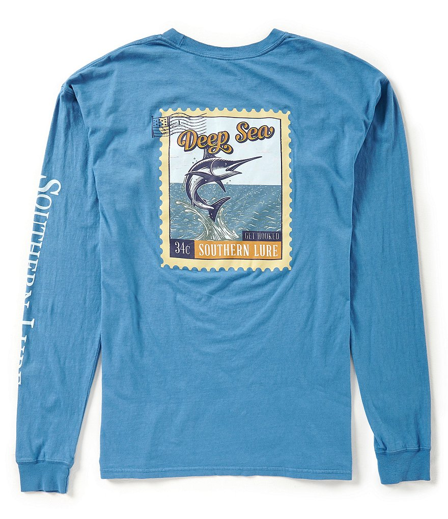 Southern Lure Mens Deep Sea Stamp Long-Sleeve Graphic Pocket Tee