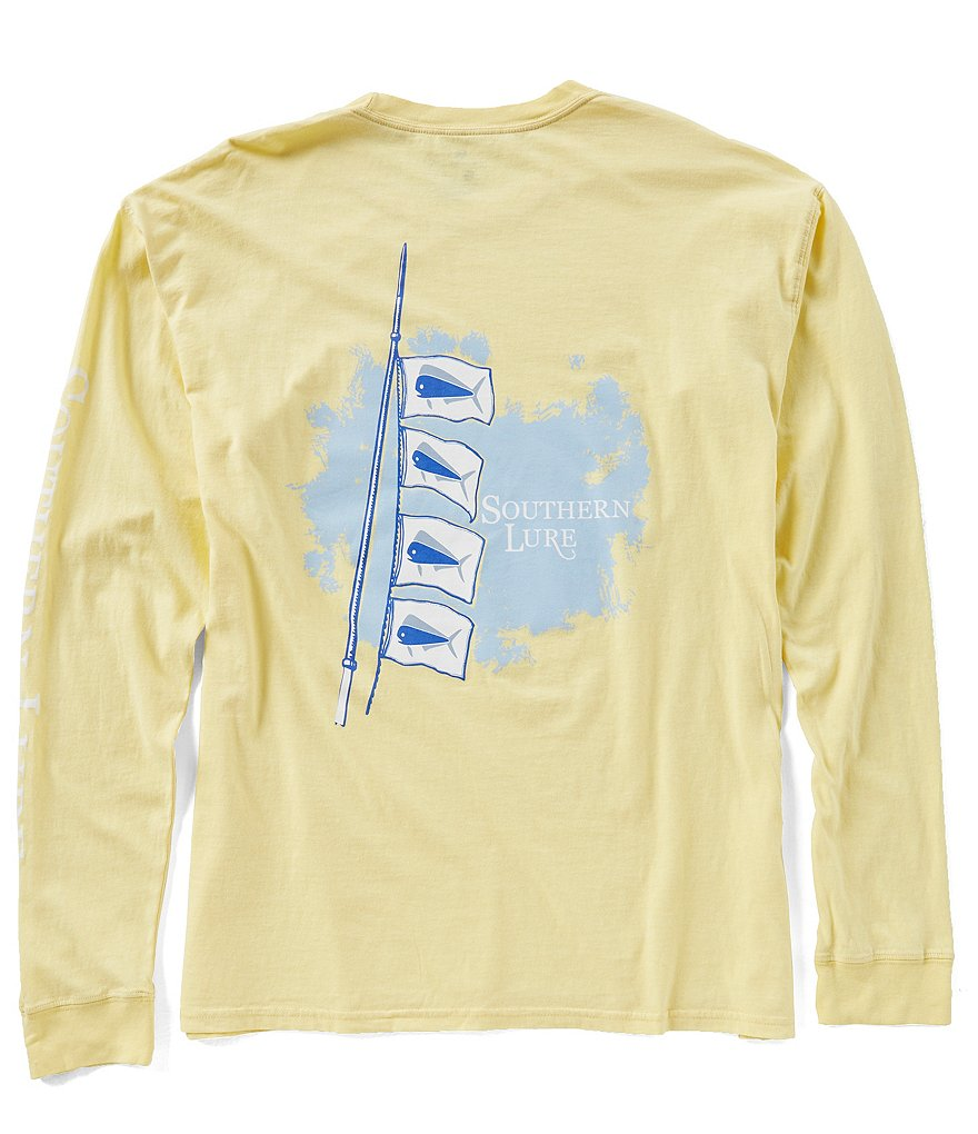 Southern Lure Mens Flag Pole Long-Sleeve Graphic Pocket Tee