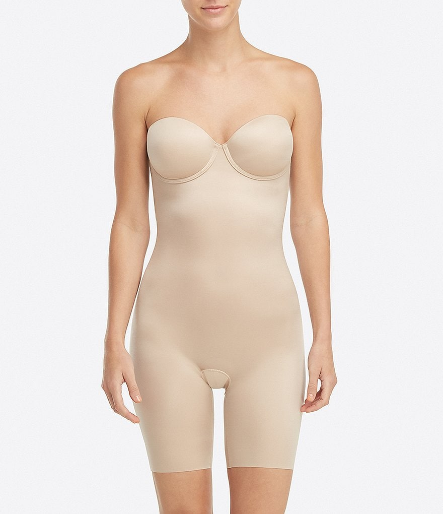 Spanx Strapless Cupped Mid-Thigh Bodysuit