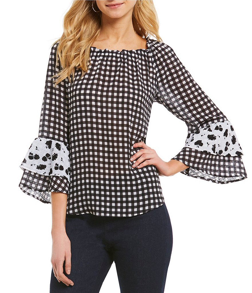 Spense 3/4 Double Ruffle Sleeve Gingham Print Top
