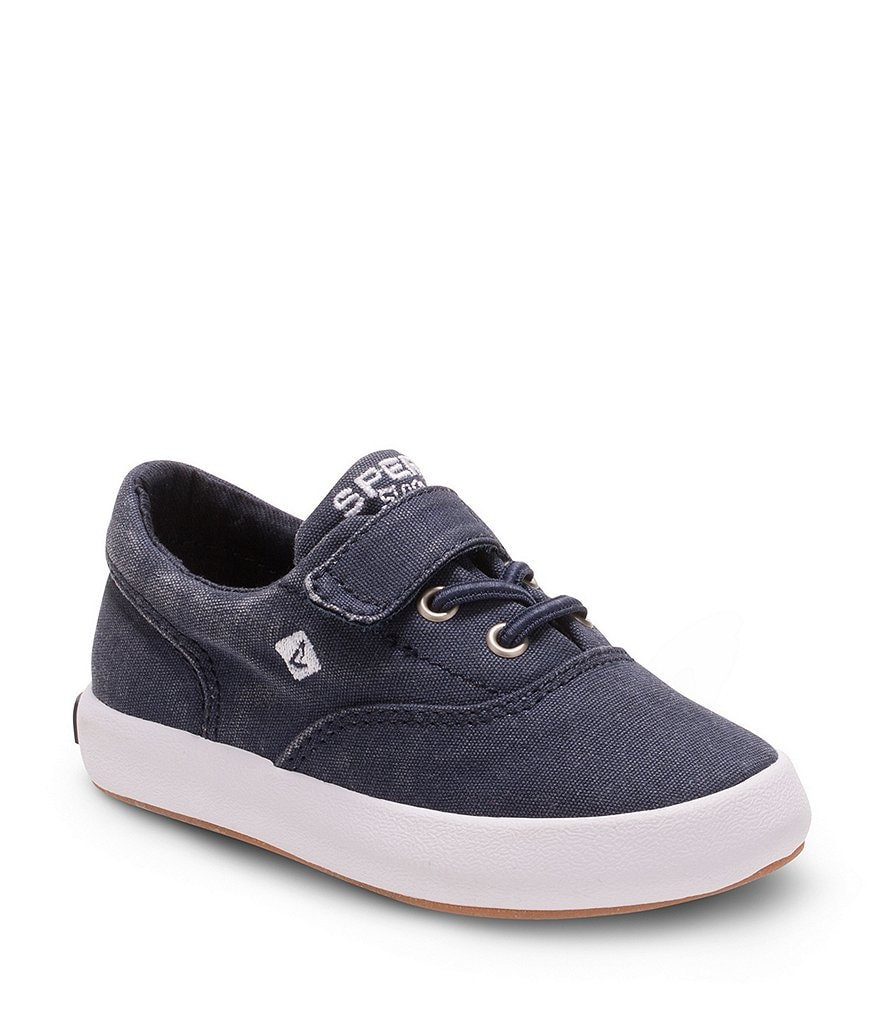 Sperry Boys' Wahoo Jr. Canvas Fixed Lace Slip On Vulcanized Sneakers