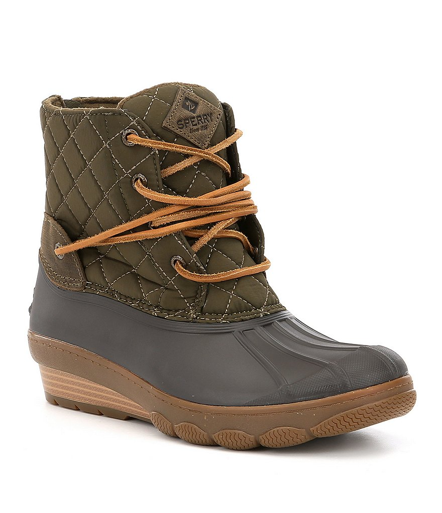 Sperry Women's Saltwater Wedge Tide Quilted Nylon Waterproof Cold Weather Duck Boots
