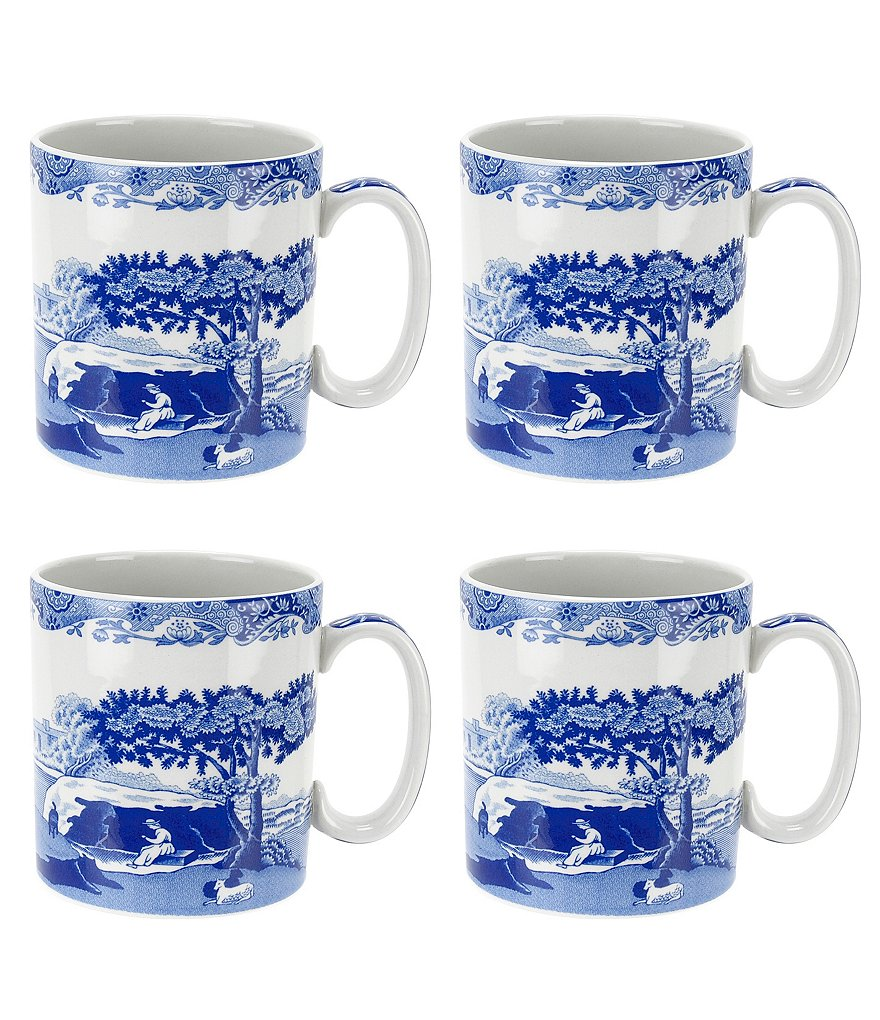 Spode 4-Piece Blue Italian Mug Set