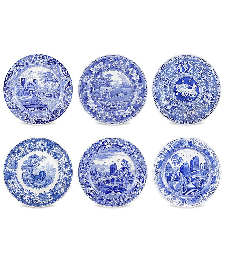 Spode Blue Italian Traditional Scene Plates, Set of 6
