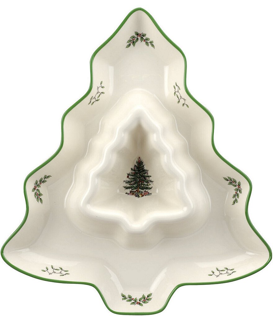 Spode Christmas Tree Shaped Chip & Dip Server