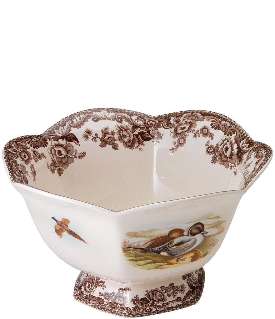 Spode Festive Fall Collection Woodland Lapwing/Pintail Hexagonal Footed Bowl