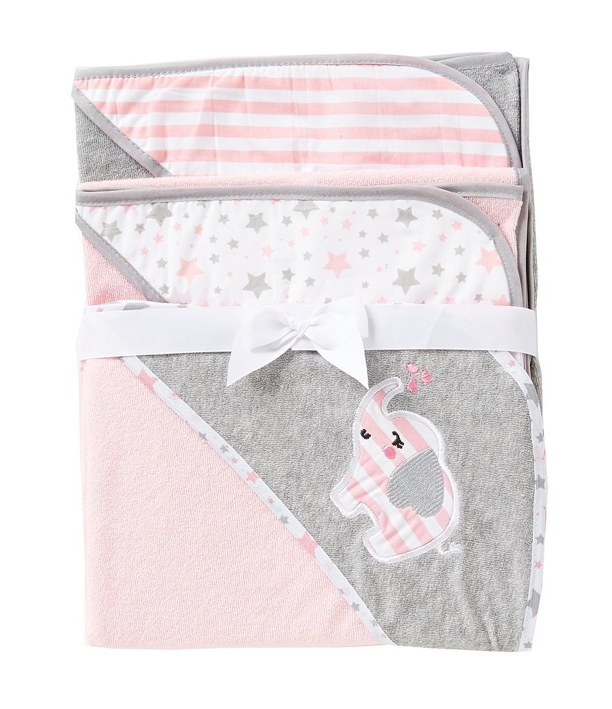 Starting Out 3-Pack Elephant Hooded Bath Towel Set