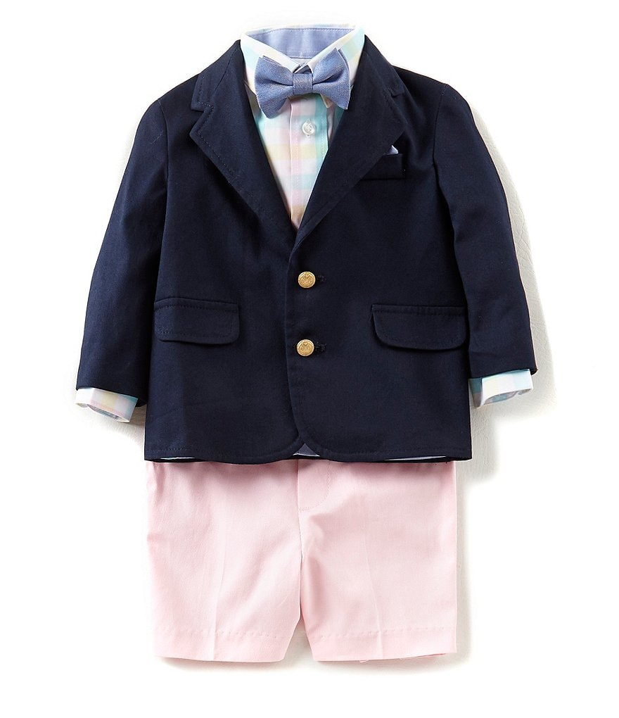 Starting Out Baby Boys 12-24 Months Blazer Jacket, Button-Front Shirt, Bow Tie, & Shorts 4-Piece Set