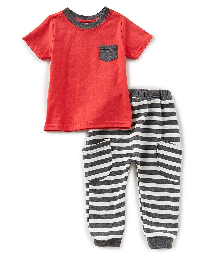 Starting Out Baby Boys 12-24 Months Pocket Short-Sleeve Tee & Striped Pants Set